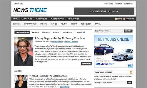news child wordpress theme