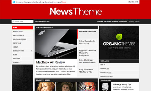 organice news wordpress theme