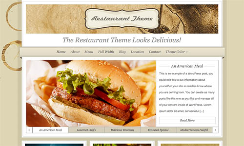 organice restaurant wordpress theme