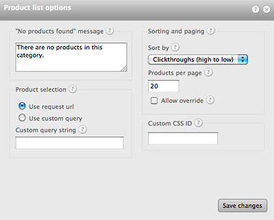 datafeedr product list options