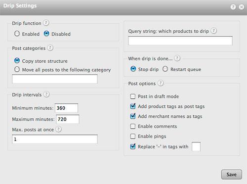 datafeedr drip settings