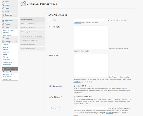 headway theme review configuration