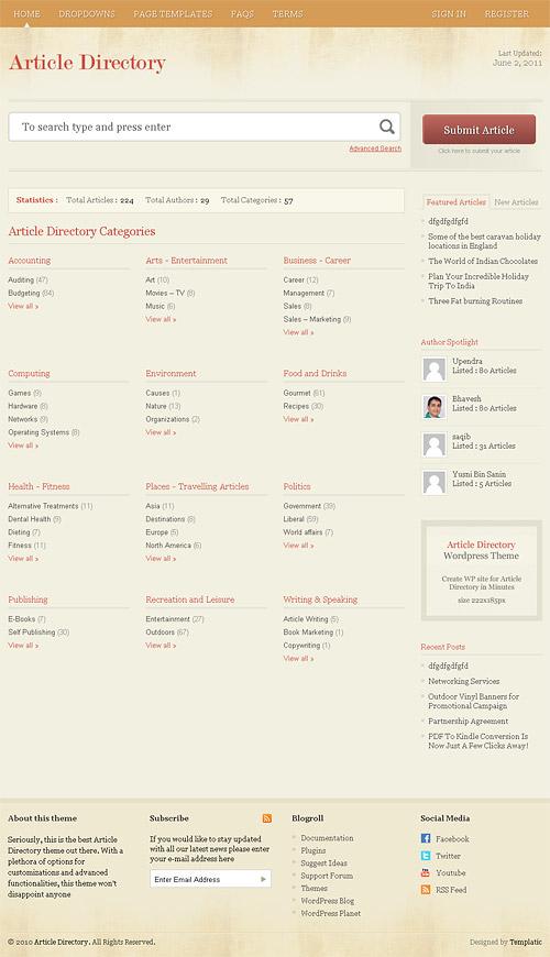 article directory wordpress theme