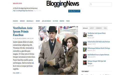 blogging news wordpress theme