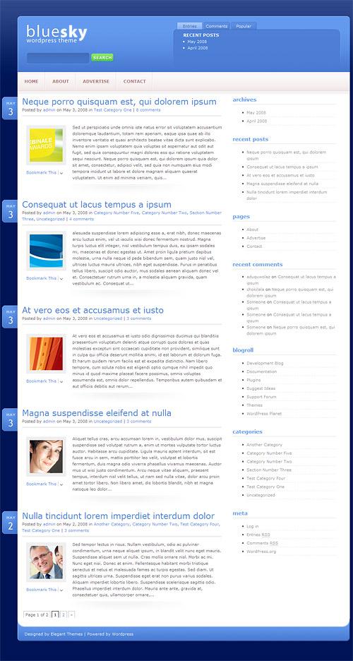 blue sky wordpress theme