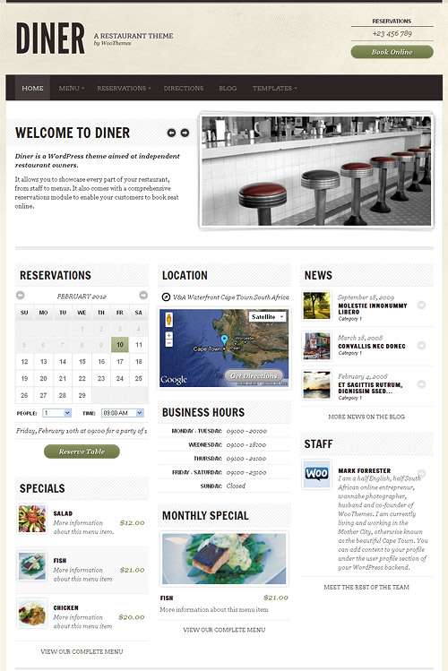 diner wordpress theme