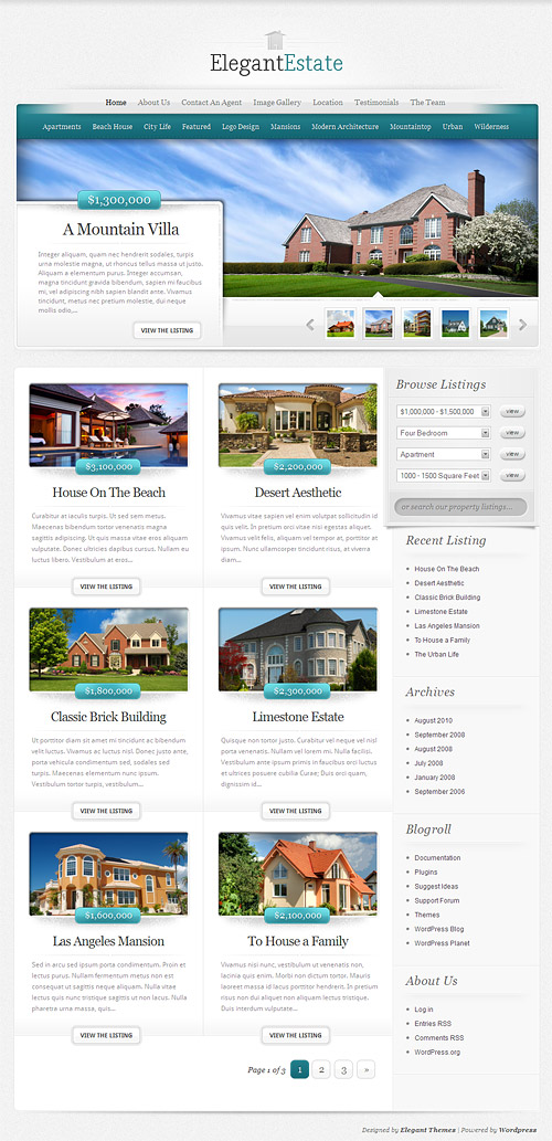 elegant estate wordpress theme