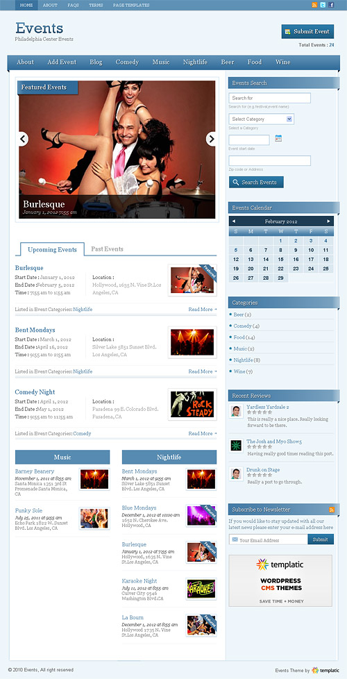 events wordpress theme