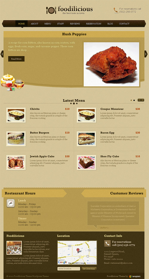 foodilicious wordpress theme