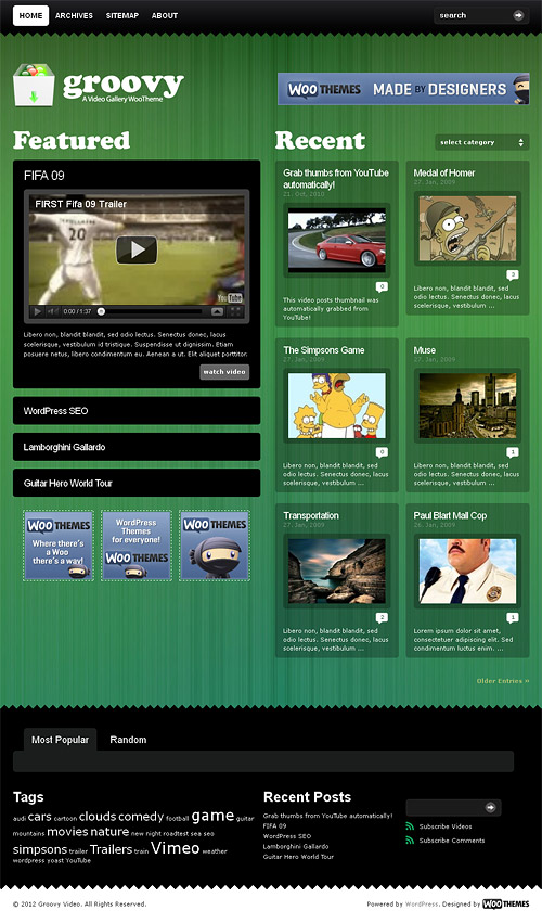 groovy video wordpress theme
