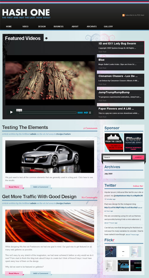 hash one wordpress theme