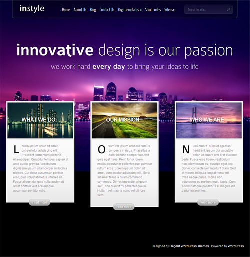 in style wordpress theme