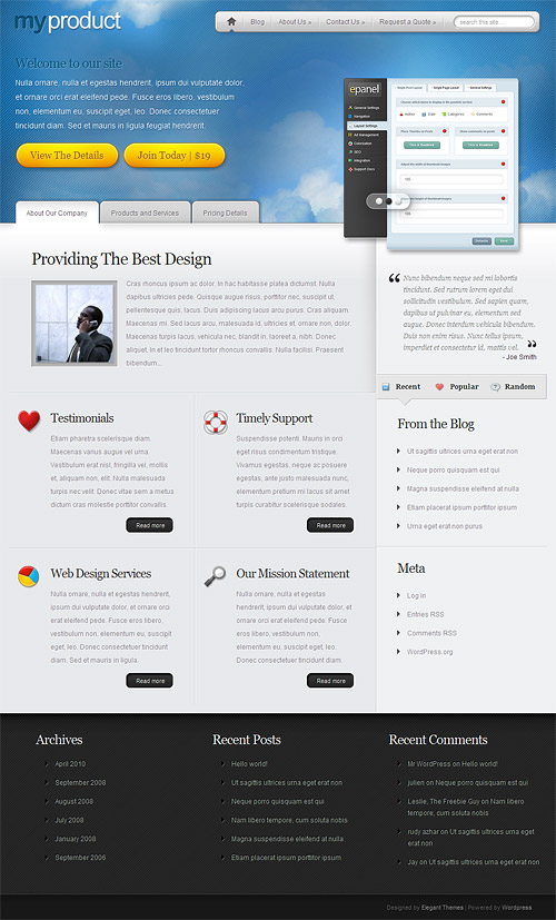 my product wordpress theme
