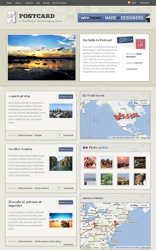 postcard wordpress theme