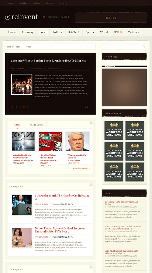 reinvent wordpress theme
