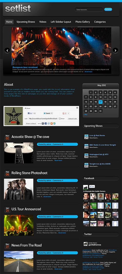 setlist music wordpress theme