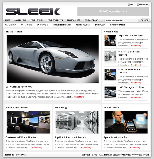 sleek wordpress theme