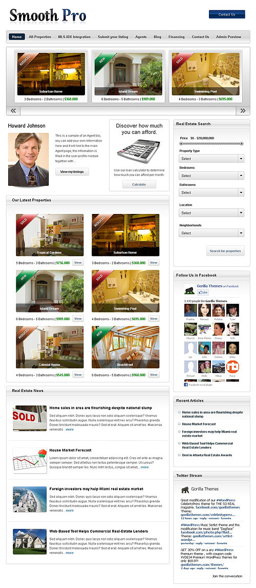 smooth pro real estate wordpress theme