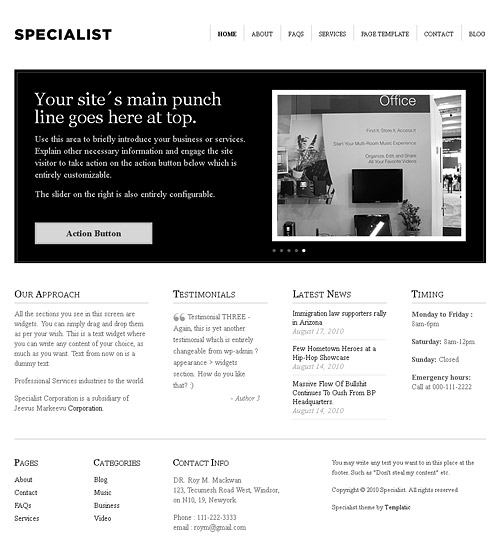 specialist wordpress theme