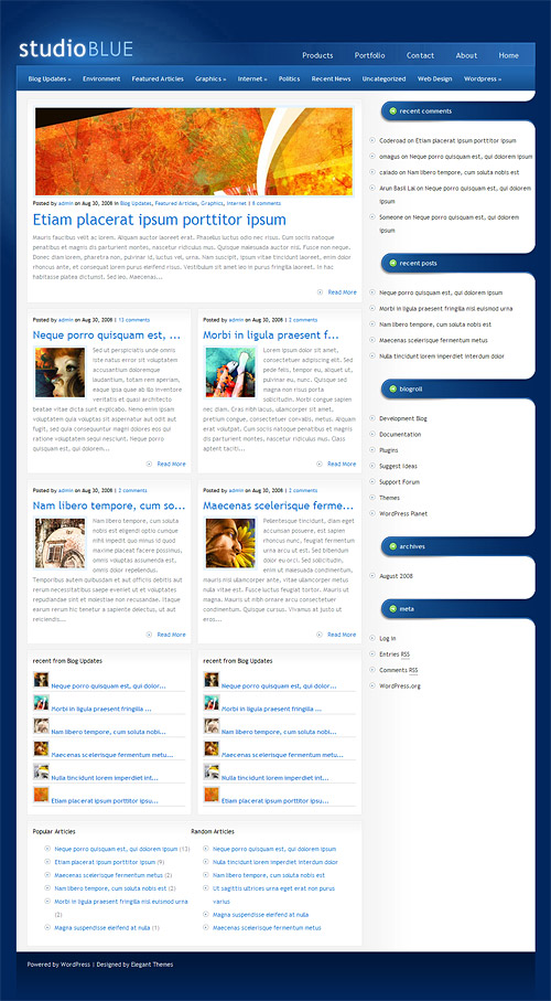studio blue wordpress theme