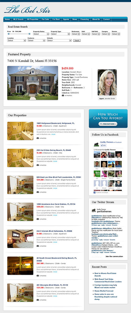 the bel air real estate wordpress theme