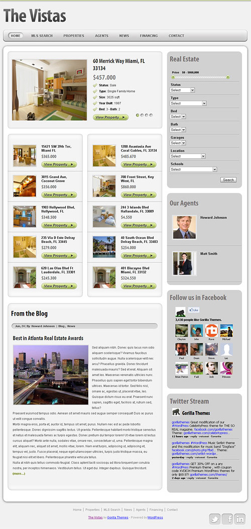the vistas real estate wordpress theme